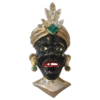 Vintage Blackamoor Face with Turban Headpiece and Earrings Brooch-Pin