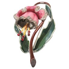 Vintage :Large Pot Metal Enamel Flower Brooch-Pin
