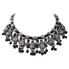 Vintage Black-Multi Color Foil Art Glass Bead Bib Necklace