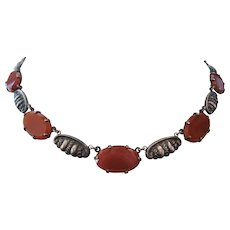 Vintage Art Deco Carnelian Glass and Sterling Choker Necklace