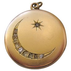 Vintage Gold Filled Moon and Star Locket