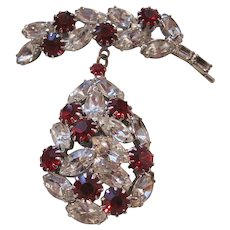 Vintage Rhodium Plated Clear and Red Rhinestone Brooch-Pin