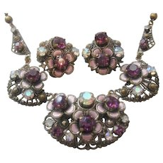 Vintage West German Brass Rhinestone and Enamel Necklace and Earrings Set