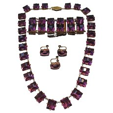 Vintage Art Deco Riviere Open Back Faceted Purple Crystal Necklace, Bracelet and Earrings Set