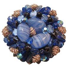 Vintage Large Brass Blue Art Glass -Rhinestone Brooch Pin