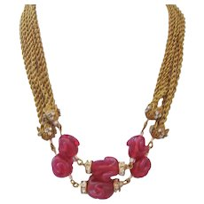 Vintage Miriam Haskell Gold Chain Rhinestone and Raspberry Poured Glass Bead Necklace