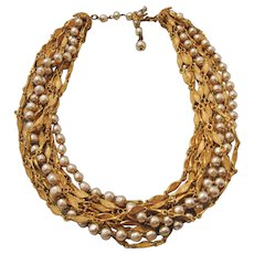 Vintage Miriam Haskell Gold tone Chain and Simulated Pearl Necklace