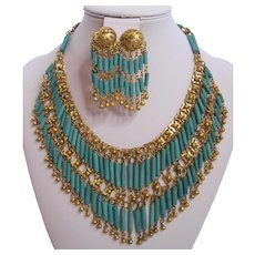 Vintage Egyptian Style Turquoise Composition Bead and Brass Bib Necklace and Earrings
