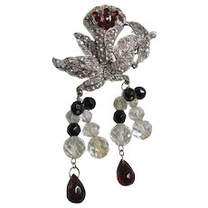 Vintage Pot Metal Orchid with Dangling Crystal Leaves Brooch-Pin
