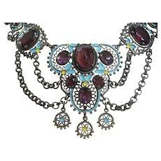 Vintage Victorian Gun Metal -Enamel and Purple Glass Festoon Necklace