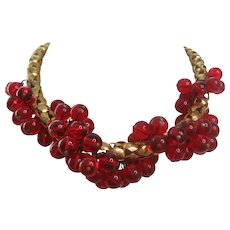 Vintage Retro Modern Link Large Snake Chain with Cherry Red Glass Bead Necklace