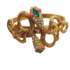 Vintage Gold tone Bangle Snake Bracelet with Rhinestone Heads