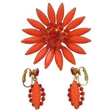 Vintage Plastic Orange Flower Brooch and Earrings Set