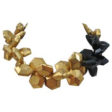 Vintage Rare Cadoro Gold tone and Black Hexagon Bead Choker Necklace
