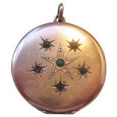 Vintage Victorian Gold Filled Locket with Star and Photo