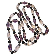 Vintage Art Deco Clear/Black/ Purple Cut Crystal Necklace