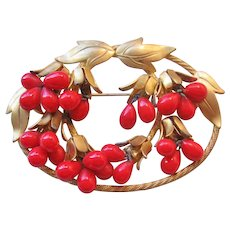 Vintage Brass and Lipstick Red Glass Berry Bead Brooch-Pin