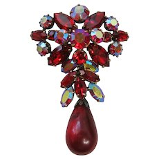 Vintage Regency Red Rhinestone Brooch-pin