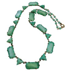 Vintage Faceted Czech Art Deco Satin Glass Panel Necklace