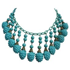 Vintage Turquoise Early Plastic Berry Bib Statement Necklace