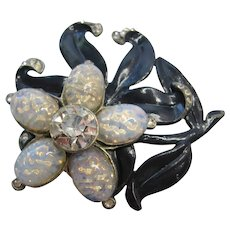 Vintage Goldman/Goldman Pot Metal Enameled Flower - Brooch