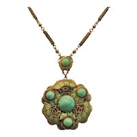 Vintage Brass and Enamel Peking Glass Necklace
