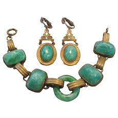 Vintage Art Deco Brass and Peking Glass Bracelet and Earrings Set