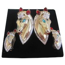 Vintage Sterling Silver Gold Plated Coro Adolph Katz Designed Duette Thorobreds  Fur Clips-Holder and Matching Earrings