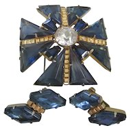 Vintage Maltese Cross with Dark Blue Glass Brooch-Pin and Earrings Set