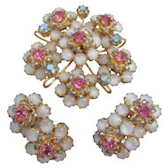 Vintage Large White Moonstone-Aurora and Pink Rhinestone Brooch/Pendant and Earrings