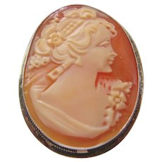 Vintage Italian Shell Cameo Brooch-Pendant set is Sterling Silver