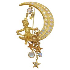 Kirks Folly Angel sitting on a Crescent Moon Pin Brooch