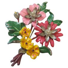 Vintage Pot Metal and Enamel Floral Brooch-Pin