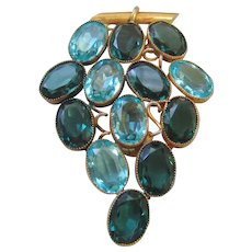 Vintage Blue Open Back Czech Crystal Grape Dress Clip-Brooch