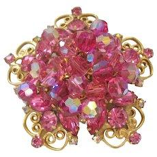 Vintage Star Designed Scroll Work Pink Rhinestone and Crystal Brooch-Pin