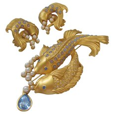 "Vintage Elizabeth Taylor for Avon ""Sea Shimmer"" Koi Fish Brooch and Earrings Set"