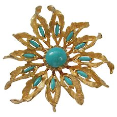 Vintage De Nicola Modern Style Turquoise Color and Gold Tone Brooch-Pendant