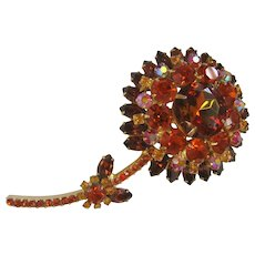 Vintage Large Rhinestone Brown/Amber/Aurora Flower Brooch-Pin