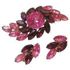 Vintage Pink Swirl Rhinestone Brooch and Earrings Set