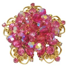 Vintage Large Open work Scroll Star with Pink Rhinestone and Crystal Brooch -Pin