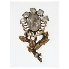 Vintage H. Pomerantz of NY Brass, Enamel and Glass Floral Statement Pin-Brooch