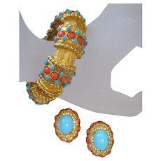 Vintage K.J.L. Simulated Coral and Turquoise Bracelet and Earrings Set