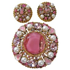 "Vintage Designer ""Art"" Pink Art Glass-Simulated Pearl and Lavender/Pink and AB Rhinestones Set"