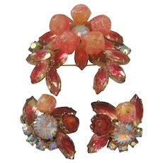 Vintage Peach/Pink Crackle Bead and Rhinestone Brooch and Matching Earrings