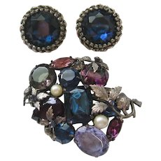 Vintage Silver tone Blue-Purple Foil and Open Back Rhinestones and Simulated Pearl Brooch and Earrings Set