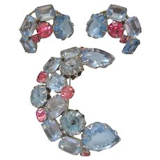 Vintage Open and Closed Back Light Blue and Pink Rhinestone Brooch and Earrings Set
