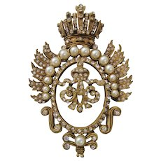 Vintage DeNicola Shield and Crown Crest Brooch-Pin Pendant