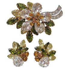 Vintage Schoffel & Co Austrian Crystal Floral Brooch and Earrings Set