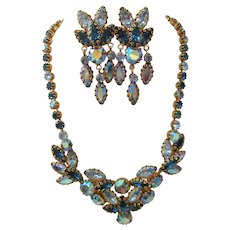 Vintage Schoffel & Co Austrian Crystal Necklace and Earrings Set