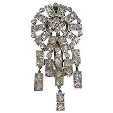 Vintage Art Deco Pot Metal and Rhinestone Dress Clip-Brooch